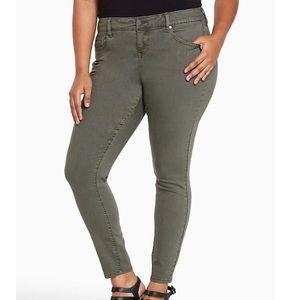 Torrid ultra skinny jeans olive green crop ankle